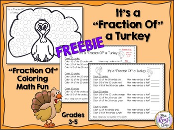 Thanksgiving Math Fraction Of a Turkey Fractions Coloring (FREEBIE)