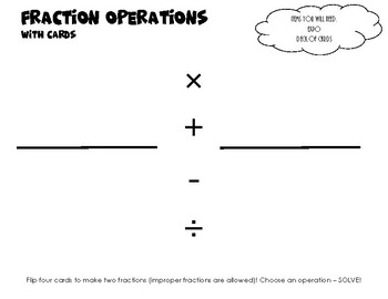 Fraction Operation Card Game Mat