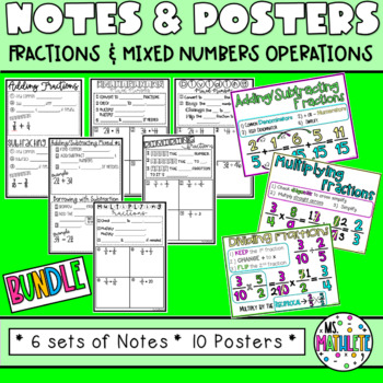 Fraction Operation Notes and Posters Bundle