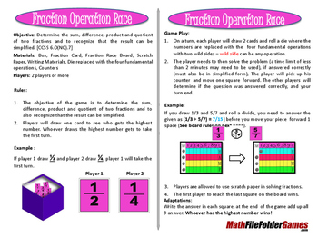 Fraction Operation Race (adding, subtracting, multiplying & dividing game)
