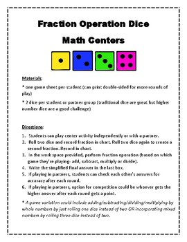 Fraction Operation Roll & Solve Math Centers