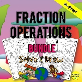 5th Grade Fraction Operations & Word Problem Bundle