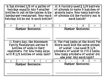 Fraction Operation Task Cards