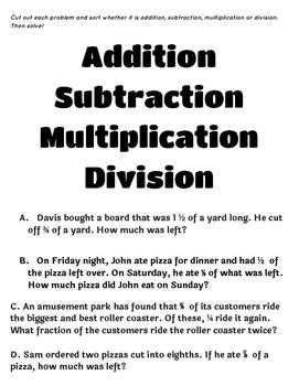 Fraction Operation Word Problem Sort