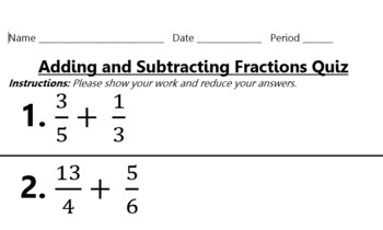 Fraction Operations Assessment Pack (Keys Included)