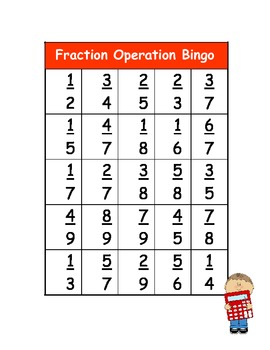 fraction operations bingo by kelly malloy teachers pay teachers. Black Bedroom Furniture Sets. Home Design Ideas
