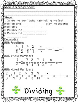 Fraction Operations Notes Flipbook