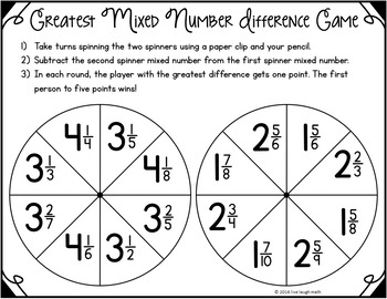 Fraction Operations Games- Fraction Spinners
