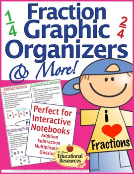 Fractions - Graphic Organizers, Interactive Notebook, Guided Notes, & More