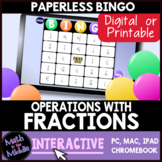 Fraction Operations Interactive Bingo Review Game - Distan