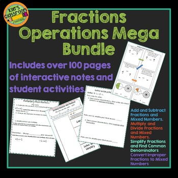 Fractions Interactive Notebook & Student Activities - All 4 Fraction Operations
