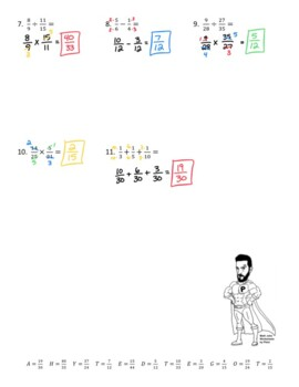 Fraction Operations Joke Worksheet with Answer Key