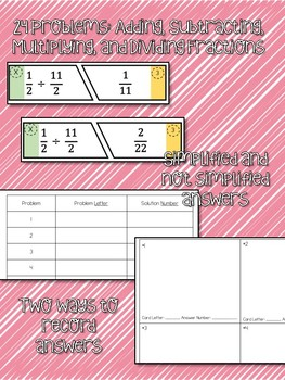 Fraction Operations Matching Activity