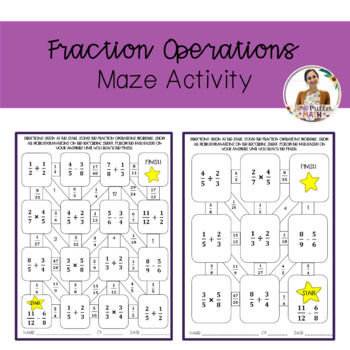 Fraction Operations Maze Activity