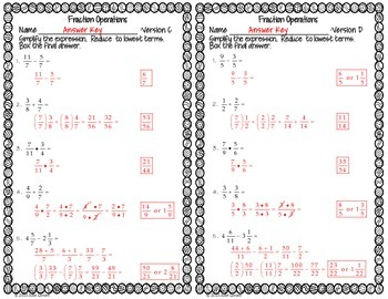 Fraction Operations Mixed : RTI Intervention No Prep Fluency