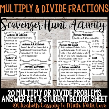 Fraction Operations- Multiply & Divide Fractions-Scavenger