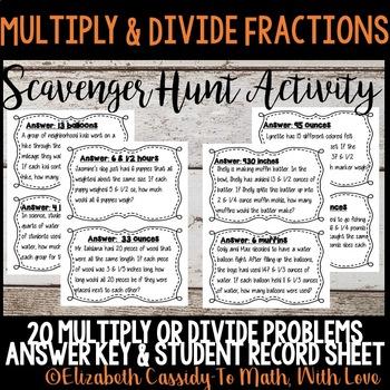 Fraction Operations- Multiply & Divide Fractions-Scavenger Hunt- Fraction Game
