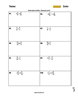 Free: Two Fraction Operations Worksheets and Notes