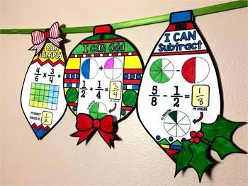 Fraction Ornaments Holiday Math Pennant mini bundle