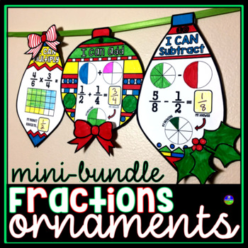 Fraction Ornaments Holiday Math Pennants by Scaffolded ...