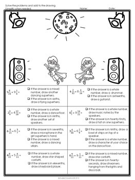 Fractions Operations Coloring Pages