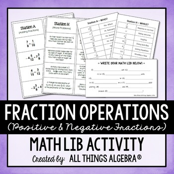 Fraction Operations Math Lib (Positive and Negative Fractions)