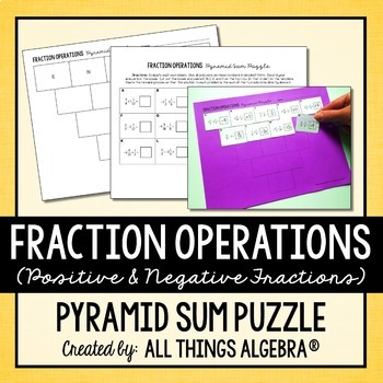 Fraction Operations Pyramid Sum Puzzle