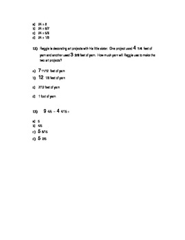 Fraction Operations Quiz