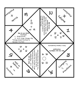 Fraction Operations Review- Cootie Catcher