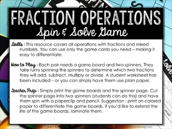 Fraction Operations Review Game