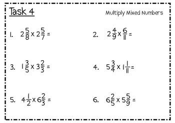 Fraction Operations Review Task Cards