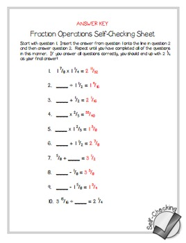 math worksheet : fraction operations self checking worksheet  free by math in the  : Fraction Operations Worksheet