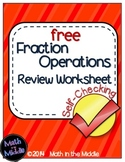 Fraction Operations Self-Checking Worksheet - Free