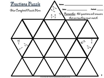 Fraction Operations & Simplifying Fractions Triangle Puzzle