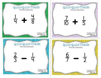Fraction Operations Skills Review Quiz Quiz Trade (TEKS 5.3H 5.3I 5.3K 5.3L)