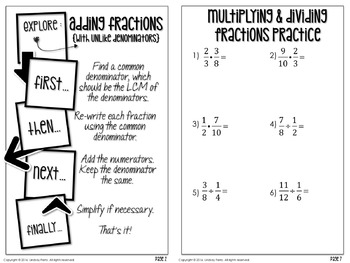 Fraction Operations Student Booklet