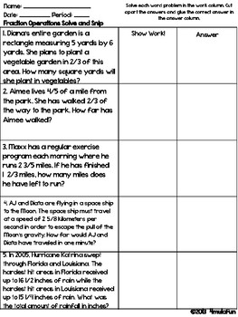Fraction Operations Word Problems Solve and Snip- Common Core & TEKS