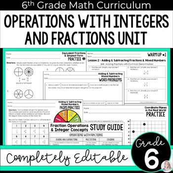 Fraction Operations and Integer Concepts Unit