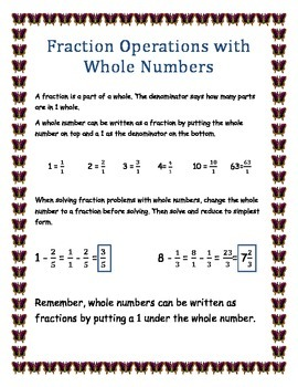 Fraction Operations with Whole Numbers Simplified Notes Handout