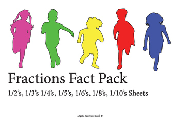 Fraction Pack 1/2's, 1/3's 1/4's, 1/5's, 1/6's, 1/8's, 1/10's Sheets
