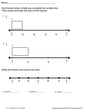 Fraction Pack Go Math Third Grade 10 Worksheets for Chp. 8
