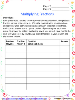 Fraction Partner Games Dice or Cards: compare, add, subtract, multiply, divide