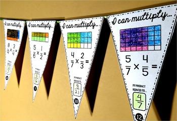 Fractions Math Pennants mini bundle