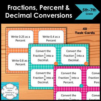Fraction, Percent & Decimal Conversions Task Cards
