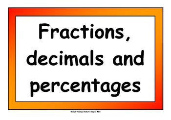 Fraction, Percentage and Decimal Display Pack