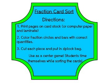 Fraction Picture Card Sort