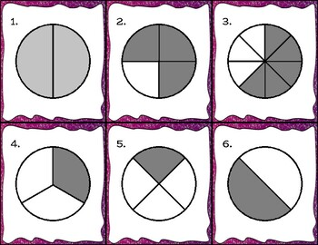 Fraction Pie Charts - 30 Task Cards - Color and Black/White