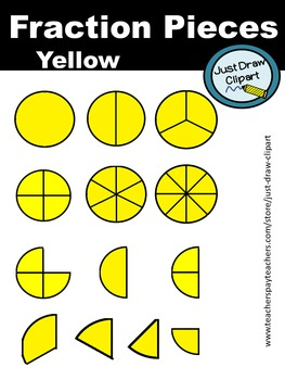 Fraction Pieces Clip Art - Yellow