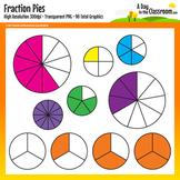 Fraction Pies Clip Art Graphics