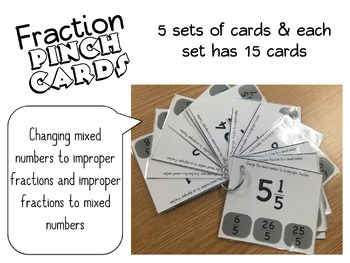 Fraction Pinch Cards - 4th and 5th Grade